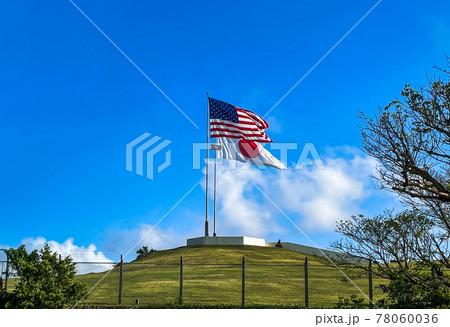星条旗と日本の国旗が掲げられた晴天の日の画像 78060036