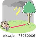 屋外で雷から身を守る人 78060086