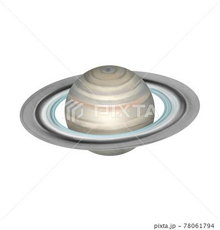 水彩風 リアル調の土星 線画なし 78061794