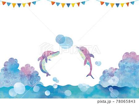 水彩風 舞うピンクイルカとガーランド 78065843