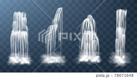Set of waterfalls with cascade, splash and fog 78071648