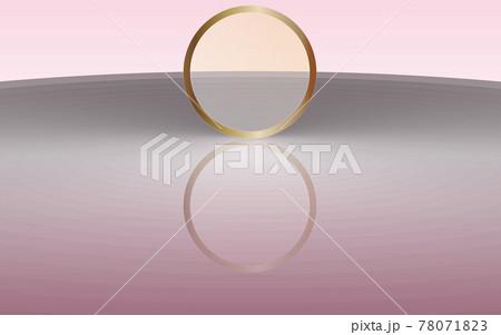 背景素材 綺麗な波紋とゴールドリング ピンクグラデーション 78071823