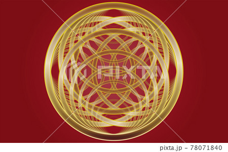 背景素材 ゴールドリングの幾何学模様 78071840