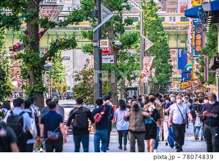 """日本の東京都市景観 重症者(全国)1304人で過去最多。秋葉原はホコ天中止で歩道に""""密""""=5月23日 78074839"""