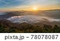 Beautiful morning Sunrise and Fog flow over mountain in Ai yerweng, Yala, Thailand 78078087