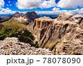Aerial view of Sass Pordoi Mountain, Dolomites, Italy 78078090
