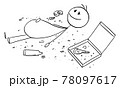 Overeaten Man or Person, Lying on Ground With Crumbs Around, Vector Cartoon Stick Figure Illustration 78097617