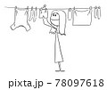 Person or Woman Hanging Clean Clothes on Line Using Pegs , Vector Cartoon Stick Figure Illustration 78097618