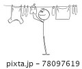 Person or Man Hanging Clean Clothes on Line Using Pegs , Vector Cartoon Stick Figure Illustration 78097619