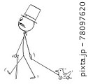 Insane Nobleman Walking with Stick and Top Hat, Pulling Toy Duck, Vector Cartoon Stick Figure Illustration 78097620