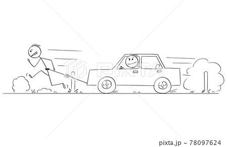 Man Running on Road and Pulling Broken Car, Vector Cartoon Stick Figure Illustration 78097624