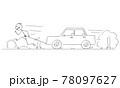 Man Running on Road and Pulling Broken Car, Vector Cartoon Stick Figure Illustration 78097627