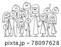 Portrait of Big Happy Family with Eleven Children, Vector Cartoon Stick Figure Illustration 78097628