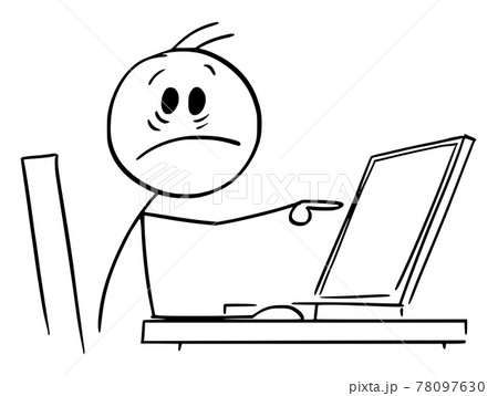 Shocked Person Working in Office and Pointing at Computer Display, Vector Cartoon Stick Figure Illustration 78097630