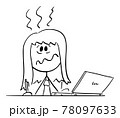 Stressed Overworked Woman Sitting Behind Desk Working in Office on Computer, Vector Cartoon Stick Figure Illustration 78097633