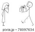 Man Giving Present or Gift to Woman or Girl, Vector Cartoon Stick Figure Illustration 78097634