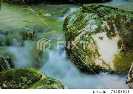 【兵庫県 丹波篠山市】木漏れ日と小滝 78108613