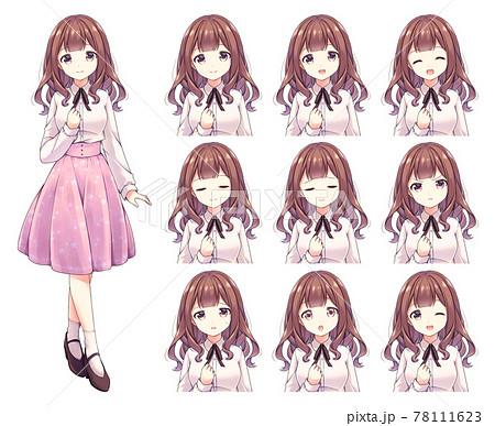 アニメ風の女性キャラクター 全身イラスト+表情差分セット 78111623