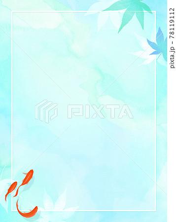 紅葉と金魚をあしらった夏向けの和風フレーム 78119112