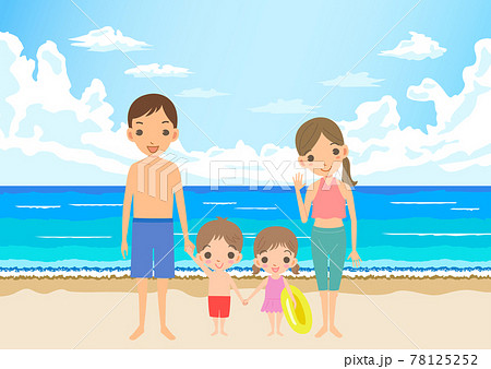 夏休みに海水浴を楽しむ家族 78125252