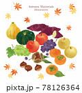 秋の食材の手描きイラスト/セット/水彩タッチ 78126364