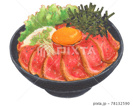 手描き飲食メニュー ローストビーフ丼 78132590