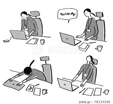 パソコンをする女性(IDカード)仕事、考える、取り組む、絶望、 78133340