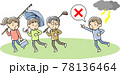 高く突き出たものを持つ人に落雷の危険を知らせる男性 78136464
