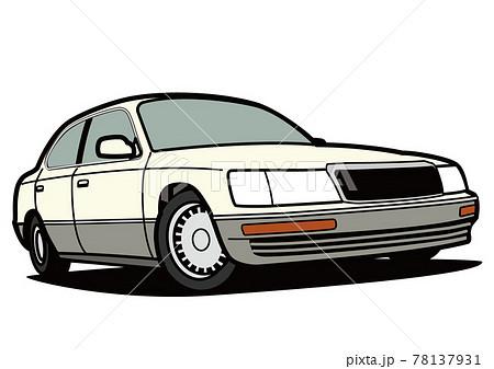 懐かしめ国産ビッグセダン 白色系 自動車イラスト 78137931
