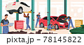 Auto Repair Service, Mechanics Characters with Instruments Fixing and Diagnostics Car. Men in Blue Uniform Checking Auto 78145822