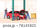 Mechanic Dressed in Blue Overall Stand near Broken Car with Open Hood Holding Instruments in Hands, Workers Fixing Auto 78145825