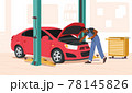 Man Fixing Auto, Checking and Maintenance Car Repair Service. Mechanic Character in Blue Overalls Stand near Broken Car 78145826