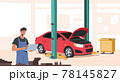 Mechanics Dressed in Blue Overalls Holding Laptop in Garage, Repair Service Staff in Box with Instruments, Auto Checking 78145827