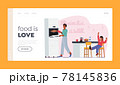 Family Characters During Lunch Time Landing Page Template. Happy Mother and Little Kid at Kitchen Spend Time Together 78145836