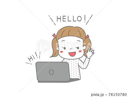 インターネットで英会話をしている女の子 オンライン英会話、ビデオ通話 78150780
