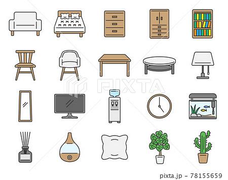 インテリア家具のアイコンセット 78155659