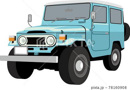 かわいいレトロなSUV四輪駆動のイラスト 78160908