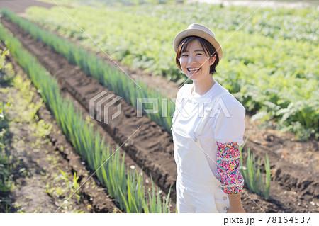 畑仕事をする農業ガール 78164537