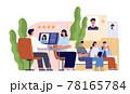 Job interview concept. Work communication, male hr boss and employee waiting meet. Choose corporate specialist, recruitment or hiring utter vector concept 78165784