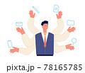 Multitasking concept. Employment self, multitask productivity. Programmer or manager character, entrepreneur. Business work utter vector scene 78165785