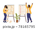 Successful time management. Failed plans or task. Angry and happy women, checklist. Managers lists, office or business girl vector characters 78165795