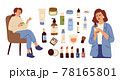 Skin care cosmetics. Beauty cleaning cosmetic, lotion cream bottle. Female touch face tonic or soap, women salon customer characters vector set 78165801
