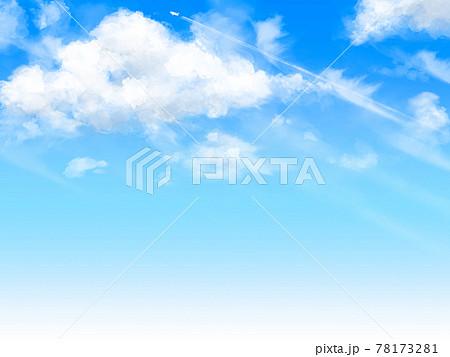 手書き風夏の青空と雲と飛行機雲 78173281