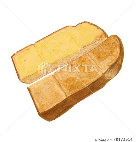 上がバタートースト、下がバターなしトーストのイラスト 78173914
