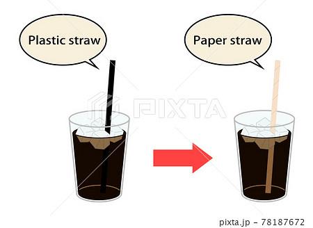 プラスチックストローから紙ストローへ 78187672