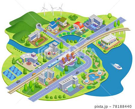 スマートシティの町並みイラスト バリエーションあり 78188440