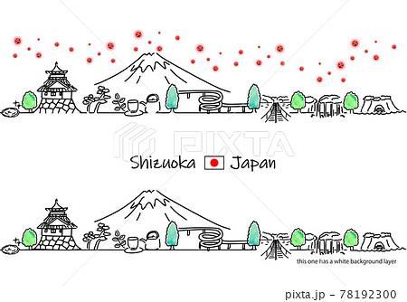 静岡県の街並みと新型コロナウイルスのシンプル線画セット 78192300