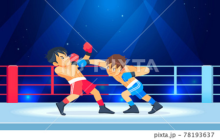 Boxing among young teen. Kids boxing, kickboxing children. Children fight with these adult emotions. Popularization of sports and healthy lifestyle. Cartoon Vector illustration of boxing. 78193637