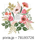 Vector illustration of a beautiful floral frame for Wedding, anniversary, birthday and party. Design for invitation card, picture frame, poster, scrapbook  78193726