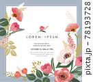 Vector illustration of a beatiful floral frame in spring for Wedding, anniversary, birthday and party. Design for banner, poster, card, invitation and scrapbook  78193728